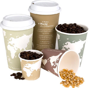 Green cups for hot beverages