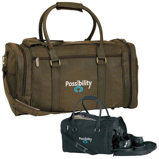 Leather duffle bag with logo corporate holiday gift Absolutepromo