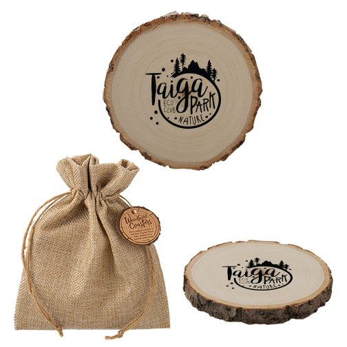 Custom wood coasters with logo AbsolutePromo.com