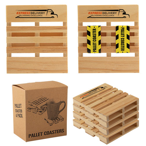 Custom shipping swag wood pallet coasters with logo AbsolutePromo.com